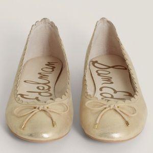 Sam Edelman Maria gold scalloped bow flats 8.5